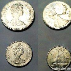 Monedas antiguas de América: CANADA, 2 MONEDAS DE 25 Y 10 CNTS. DE 1981 Y1974. Lote 203108571