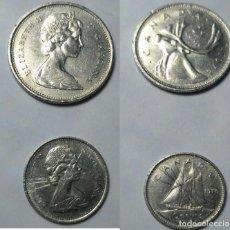 Monedas antiguas de América: CANADA, 2 MONEDAS DE 25 Y 10 CNTS. DE 1976 Y 1974. Lote 203108718