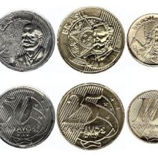 Monedas antiguas de América: BRAZIL, NEW ISSUE, SET OF 5 DIFFERENT COINS, FROM 0.05 - 1 REAL OF 2019 BI-METAL. Lote 181950662