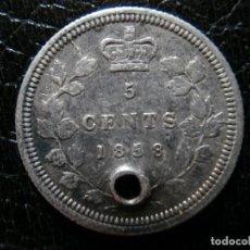 Monedas antiguas de América: MONEDA DE PLATA DE 5 CENTAVOS DE CANADA DE 1858.. Lote 203803276