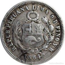 Monedas antiguas de América: PERU. ⅕ SOL, 1864 (YB), REPÚBLICA PERUANA. PLATA DE 0,900. (107).. Lote 204677818