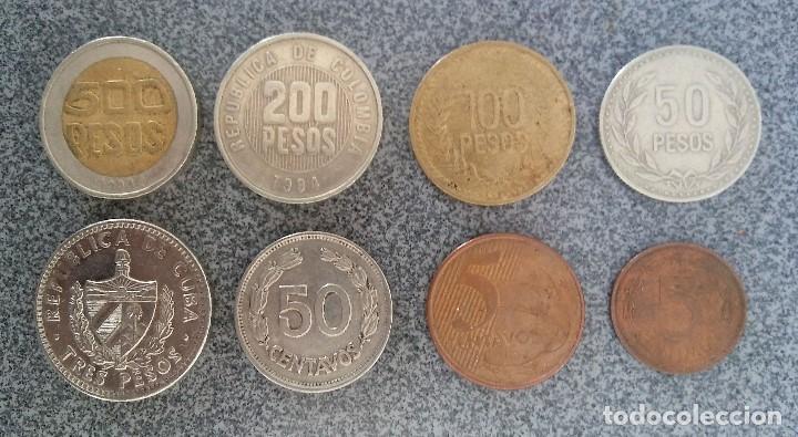 LOTE MONEDAS PESOS COLOMBIA CUBA ECUADOR BRASIL (Numismática - Extranjeras - América)