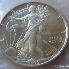 Monedas antiguas de América: MONEDA DE PLATA PURA DE 1 DOLAR DE 1992, 1 ONZA SILVER AMERICAN EAGLES, PESA 31,2 GRAMOS, U.S.A. Lote 205103290