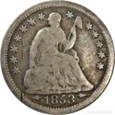 Monedas antiguas de América: ESTADOS UNIDOS. HALF DIME DE 1853 CON FLECHAS Y SIN MARCA CECA. (057).. Lote 202563227