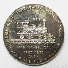 Monedas antiguas de América: CUBA1988. 20 PESOS EN PLATA. 2 ONZAS. 150 ANIVERSARIO DEL PRIMER FERROCARRIL. LOTE 2853. Lote 205362950