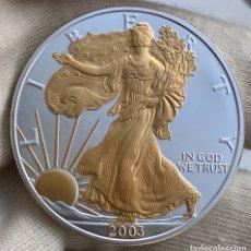 Monedas antiguas de América: 1 ONZA DE PLATA EEUU 2003 DETALLES EN ORO. Lote 205661583