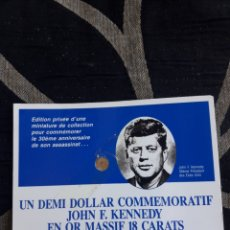 Monedas antiguas de América: UN DEMI DOLLAR CONMEMORATIVO DE JOHN F. KENNEDY, DE ORO DE 18 KILATES. Lote 205676386