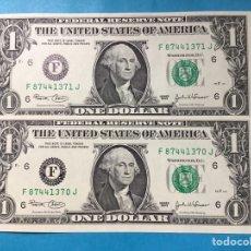 Monedas antiguas de América: X-2091 )EEUU,,2 BILLETES DE 1 DOLAR 2003,,F,,SERÍE CORRELATIVO,,SIN CIRCULAR. Lote 205679332