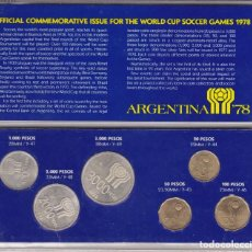 Monedas antiguas de América: JUEGO COMPLETO DE 6 MONEDAS DE ARGENTINA DEL AÑO 1978 MUNDIAL ARGENTINA-78 (3 MONEDAS DE PLATA). Lote 205701792