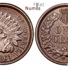 Monedas antiguas de América: ESTADOS UNIDOS - 1 CENTAVO - 1863 - COBRE - E.B.C++. Lote 205787470