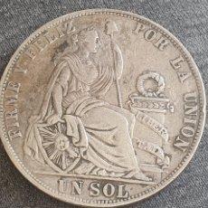 Monedas antiguas de América: MONEDA DE PLATA FIRME Y FELIZ POR LA UNION UN SOL REPUBLICA PERUANA LIMA FINO T.E 1892 . PESO 25G. Lote 206138548