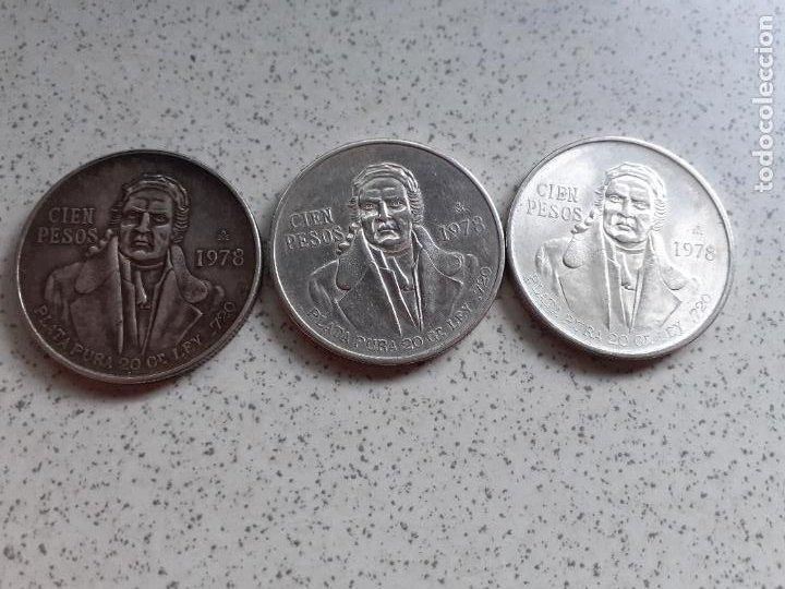 MEXICO - 100 PESOS DE PLATA DEL AÑO 1978. LOTE DE 3 (Numismática - Extranjeras - América)