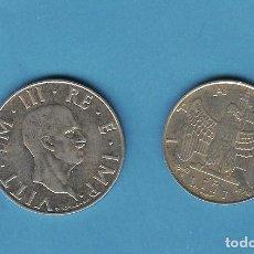 Monedas antiguas de América: ITALIA. 1940. 1 Y 2 LIRE. VITT EMANUELE III. NO MAGNÉTICAS. Lote 206430310