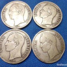 Monedas antiguas de América: LOTE, CUATRO MONEDAS DE PLATA DE 5 BOLIVARES DE VENEZUELA 1900, 1924, 1935 Y 1936.. Lote 206589951