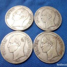Monedas antiguas de América: LOTE, CUATRO MONEDAS DE PLATA DE 5 BOLIVARES DE VENEZUELA 1912, 1929 Y DOS DE 1935.. Lote 206590050