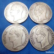 Monedas antiguas de América: LOTE, CUATRO MONEDAS DE PLATA DE 5 BOLIVARES DE VENEZUELA 1921, 1935 Y DOS DE 1936.. Lote 206590130