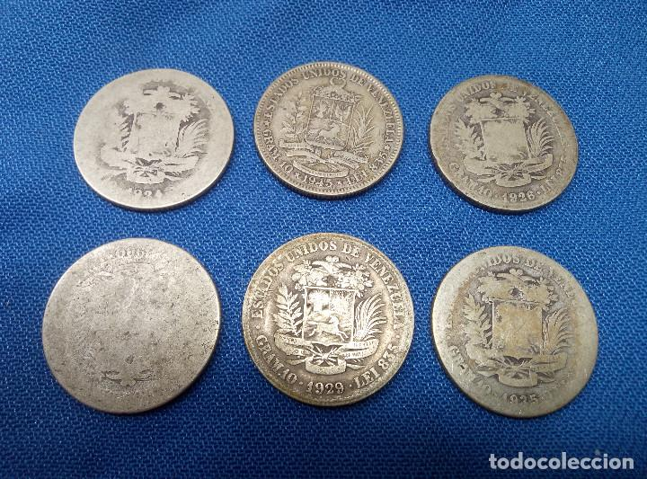 Monedas antiguas de América: LOTE DE SEIS MONEDAS DE PLATA DE 2 BOLIVARES DE VENEZUELA. - Foto 2 - 206590810