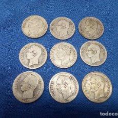 Monedas antiguas de América: LOTE DE NUEVE MONEDAS DE PLATA DE 1 BOLIVAR VENEZUELA.. Lote 206591593