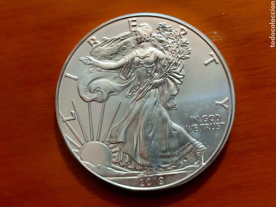 MONEDA 1 DOLLAR 2019 USA EAGLE PLATA PURA 1 ONZA CAPSULA (Numismática - Extranjeras - América)