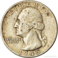 Monedas antiguas de América: MONEDA, ESTADOS UNIDOS, WASHINGTON QUARTER, QUARTER, 1945, U.S. MINT, DENVER. Lote 207154403