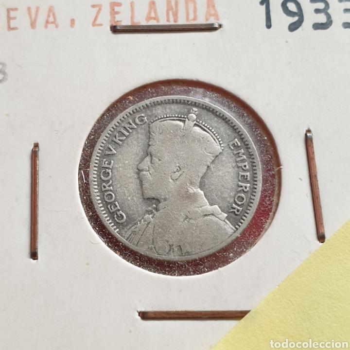 Monedas antiguas de América: Nueva Zelanda 6 peniques pence 1933, plata , Jorge V - Foto 2 - 209783601