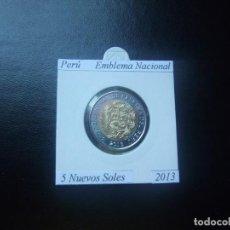 Monedas antiguas de América: PERÚ 2013, 5 NUEVOS SOLES, BIMETALICA, EMBLEMA NACIONAL, SC-UNC. Lote 210370186