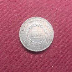 Monedas antiguas de América: BRASIL. 1000 REIS DE 1859. PLATA. Lote 210394283