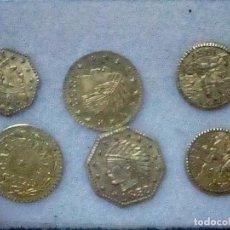 Monedas antiguas de América: T-84.- 6.- PIEZAS.- CALIFORNIA GOLD TOKEN VARIOS AÑOS, REPRODUCCION , VER FOTOS. Lote 210733924
