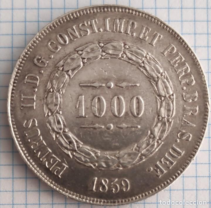 1000 REIS PLATA BRASIL 1859 (Numismática - Extranjeras - América)