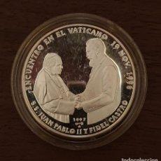Monedas antiguas de América: MONEDA 1 ONZA DE PLATA - ENCUENTRO JUAN PABLO II Y FIDEL CASTRO - 1996.. Lote 211839533