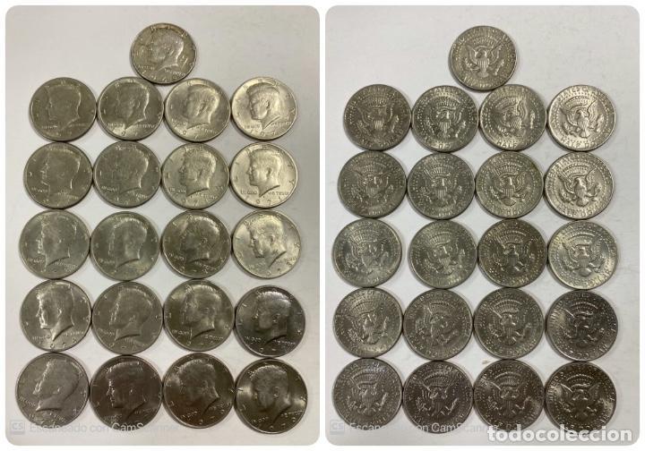 LOTE DE 21 MONEDAS. EEUU. MEDIO DOLAR. HALF DOLLAR. DEL AÑO 1969 AL 1979. EBC+. VER FOTOS Y LEER. (Numismática - Extranjeras - América)