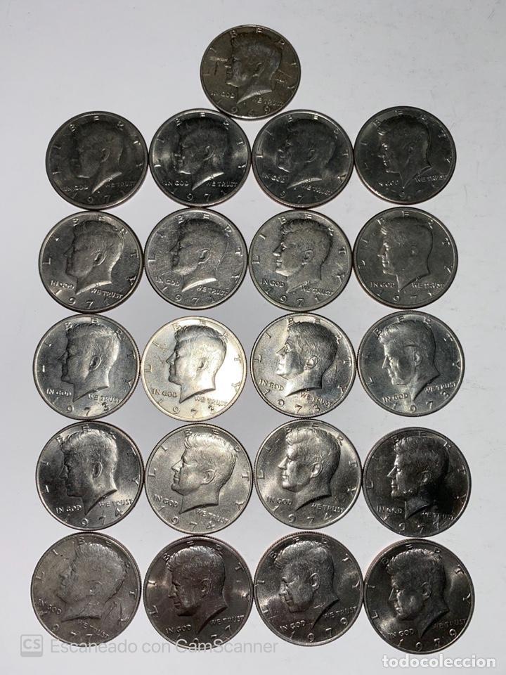 Monedas antiguas de América: LOTE DE 21 MONEDAS. EEUU. MEDIO DOLAR. HALF DOLLAR. DEL AÑO 1969 AL 1979. EBC+. VER FOTOS Y LEER. - Foto 2 - 212332870