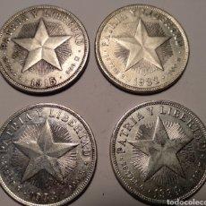 Monedas antiguas de América: CUATRO MONEDAS UN PESO DE CUBA 1915-1932-1933-1934.. Lote 212891288