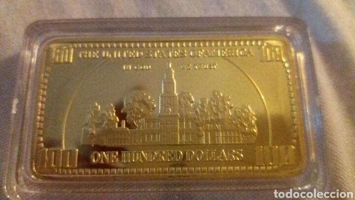 Monedas antiguas de América: precioso lingote 100 dolares de oro 24k laminado peso 40 gramos - Foto 3 - 213112131