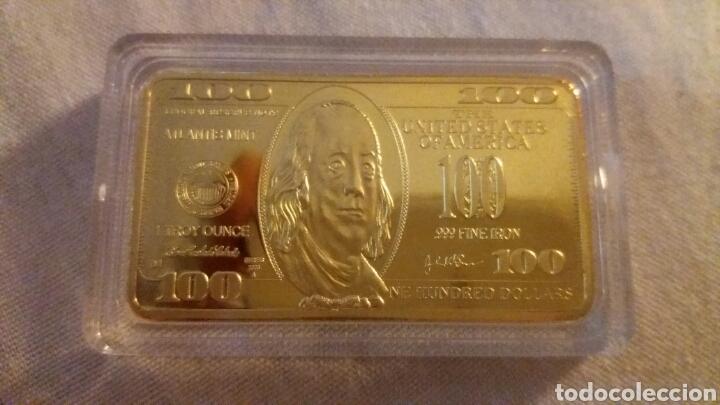 PRECIOSO LINGOTE 100 DOLARES DE ORO 24K LAMINADO PESO 40 GRAMOS (Numismática - Extranjeras - América)