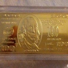 Monedas antiguas de América: PRECIOSO LINGOTE 100 DOLARES DE ORO 24K LAMINADO PESO 40 GRAMOS. Lote 213112131