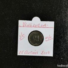 Monete antiche di America: VENEZUELA 25 CENTIMOS 2007 NIQUEL/ACERO S/C KM=91. Lote 213416252