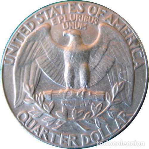 Monedas antiguas de América: Estados Unidos, 1 Cuarto de Dólar Washington Quarter 1974, Ni/Cu. KM#164a (foto). - Foto 2 - 213467327