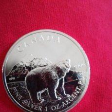 Monedas antiguas de América: 5 DOLLARS CANADÁ 2011 PLATA 999 31 GR OSO. Lote 214373880