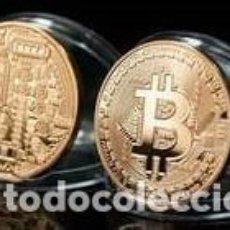 Monedas antiguas de América: CRIPTOMONEDA BITCOIN MONEDA VIRTUAL FISICA TIPO ONZA ORO ENCAPSULADA. Lote 215044955