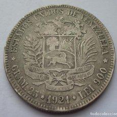 Monedas antiguas de América: VENEZUELA, 5 BOLIVARES 1921 (PLATA). Lote 216836375