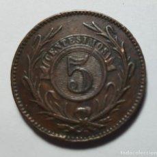 Monedas antiguas de América: 5 CENTÉSIMOS URUGUAY 1857 XF. Lote 216925926