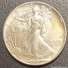 Monedas antiguas de América: MONEDA DE 1 DÓLAR, 1 ONZA DE PLATA AÑO 1987. Lote 218065038
