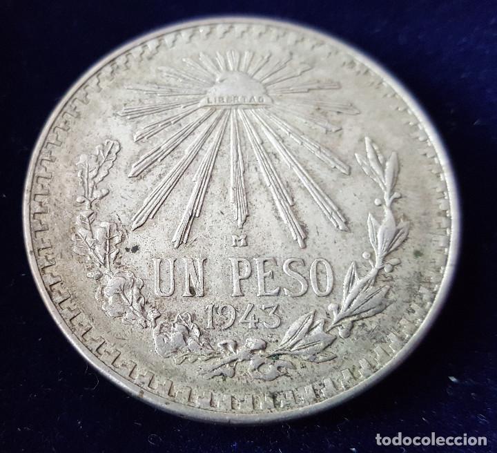 Monedas antiguas de América: UN PESO MÉXICO 1943 PLATA - Foto 2 - 218112013