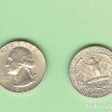Monedas antiguas de América: PLATA-USA . QUARTER DOLLAR 1961. 6,25 GRAMOS DE LEY 0,900. KM#164. Lote 235192300