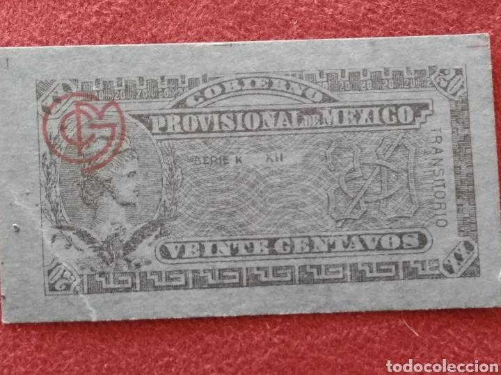 Monedas antiguas de América: GOBIERNO PROVISIONAL MEXICO 5 BILLETES VEINTE CENTAVOS - Foto 2 - 218272098