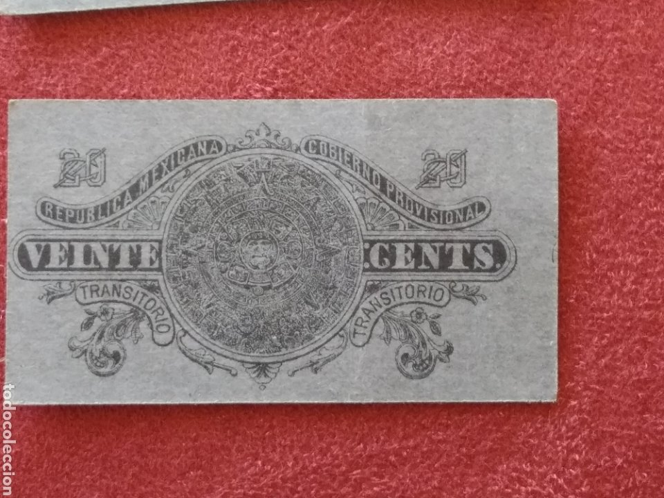 Monedas antiguas de América: GOBIERNO PROVISIONAL MEXICO 5 BILLETES VEINTE CENTAVOS - Foto 6 - 218272098