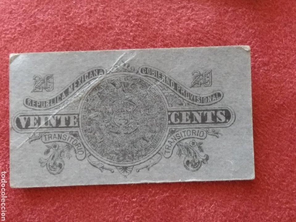 Monedas antiguas de América: GOBIERNO PROVISIONAL MEXICO 5 BILLETES VEINTE CENTAVOS - Foto 7 - 218272098
