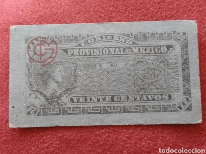 Monedas antiguas de América: GOBIERNO PROVISIONAL MEXICO 5 BILLETES VEINTE CENTAVOS - Foto 3 - 218272098