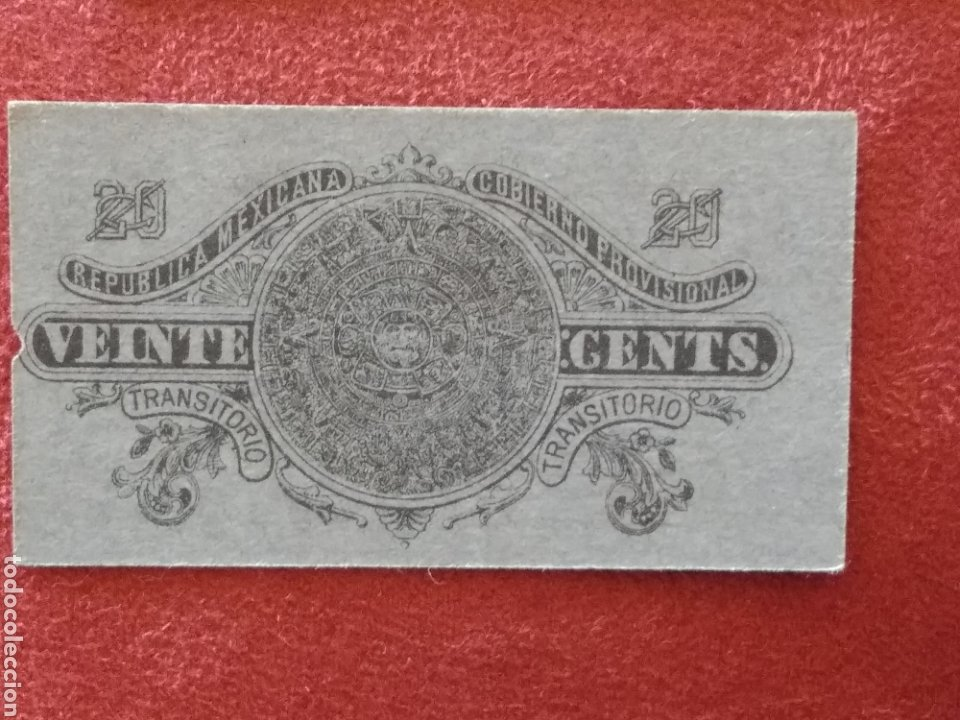 Monedas antiguas de América: GOBIERNO PROVISIONAL MEXICO 5 BILLETES VEINTE CENTAVOS - Foto 9 - 218272098